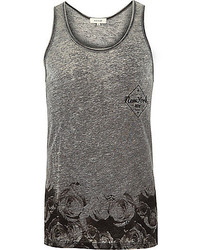 River Island Grey Floral Print Burnout Tank