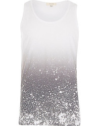 River Island Grey Paint Splatter Tank
