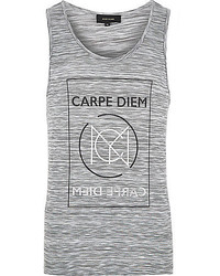 River Island Grey Space Dye Carpe Diem Print Tank
