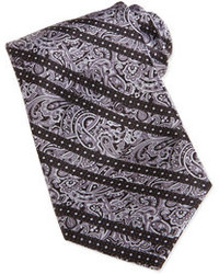 Paisley print striped woven silk tie gray medium 85123