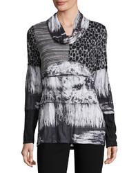 Paneled print cowl neck tunic gray medium 848921