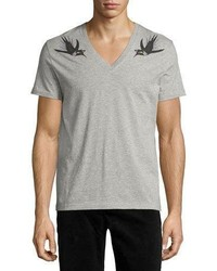 Alexander McQueen Bird Print V Neck T Shirt Gray
