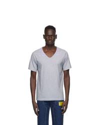Maison Margiela Grey Cotton V Neck T Shirt