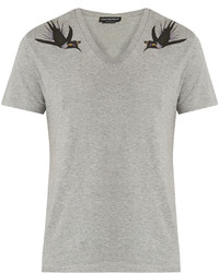 Alexander McQueen Swallow Print Cotton Jersey T Shirt