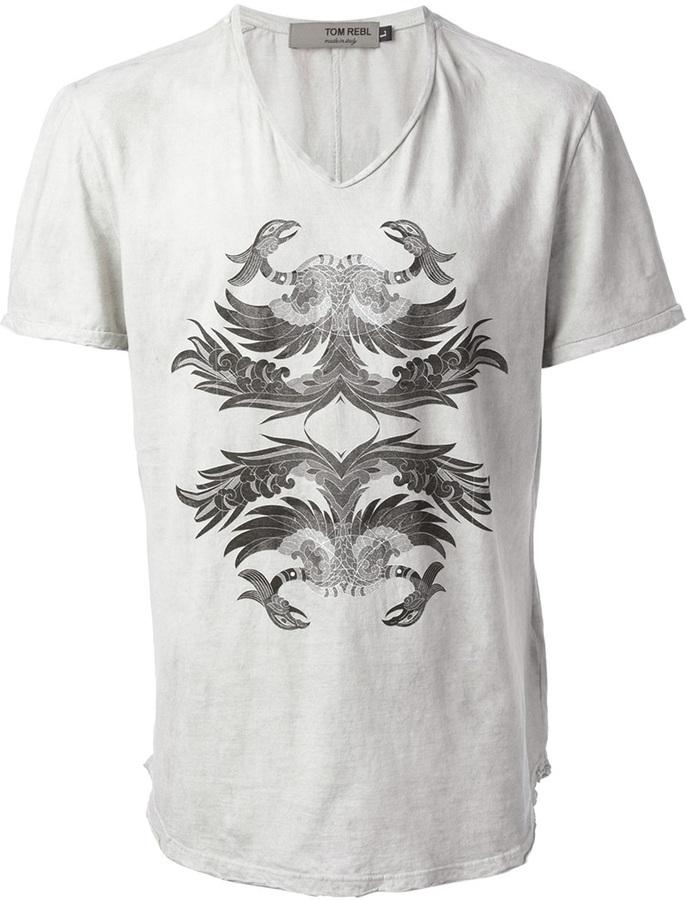 Grey print v neck t shirt tom rebl phoenix print t shirt for Phoenix t shirt printing