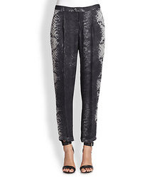 Silk cropped snake print pants medium 18123