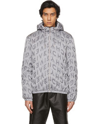 Givenchy Grey Allover Refracted Logo Thermo Quilted Windbreaker Jacket