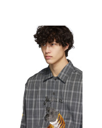 Doublet Grey Check Embroidery Shirt