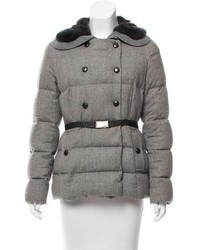 Moncler Agremoine Rabbit Fur Trimmed Coat