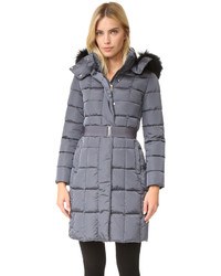 Down belted down coat with fur medium 802314