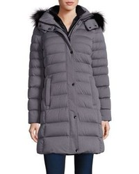 Andrew Marc Gayle Fox Fur Trim Down Puffer Coat