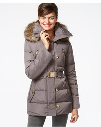 15ecd6bd92a67 ... MICHAEL Michael Kors Michl Michl Kors Faux Fur Trim Button Front Belted  Down Coat ...