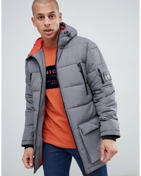 Nicce London Nicce Long Line Puffer Jacket In Grey With Hood