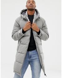 Bershka Puffer Jacket In Longer Length In Grey