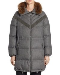 Brunello Cucinelli Reversible Fox Fur Flannel Puffer Coat