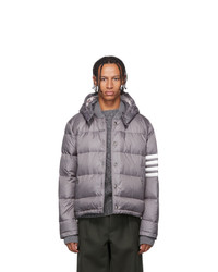 Thom Browne Grey Down 4 Bar Bomber Jacket
