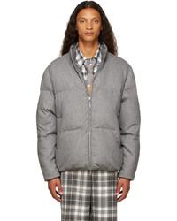 Thom Browne Grey Down Boiled Wool Engineered Stripe Funnel Neck Jacket