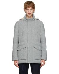 Brunello Cucinelli Grey Down Cashmere Knit Jacket