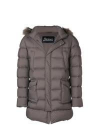 Herno Patch Pocket Fur Trimmed Puffer Coat
