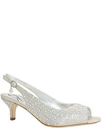 J. Renee Impuls Jeweled Peep Toe Slingback Kitten Pumps