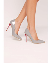 Missguided Grey Patent Transparent Heel Pumps