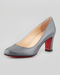 Christian Louboutin Mistica Low Heel Red Sole Pump Gray