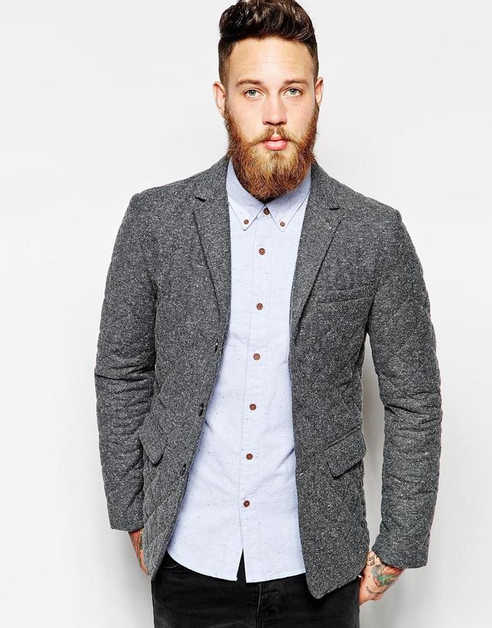 Asos Brand Slim Fit Blazer With Quilting 129 Asos Lookastic Com