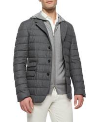 Quilted cashmere blazer dark blue medium 283450