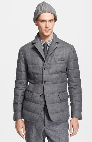 ... Grey Quilted Blazers Moncler Rodin Wool Down Blazer Jacket ...