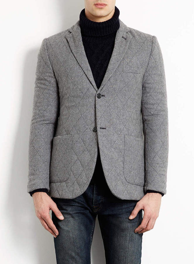 Topman Grey Quilted Blazer | Where to buy & how to wear : quilted blazer - Adamdwight.com