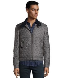 Burberry Brit Stone Grey Diamond Quilted Howson Zip Front Jacket