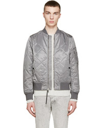 Grey quilted manston bomber jacket medium 386226