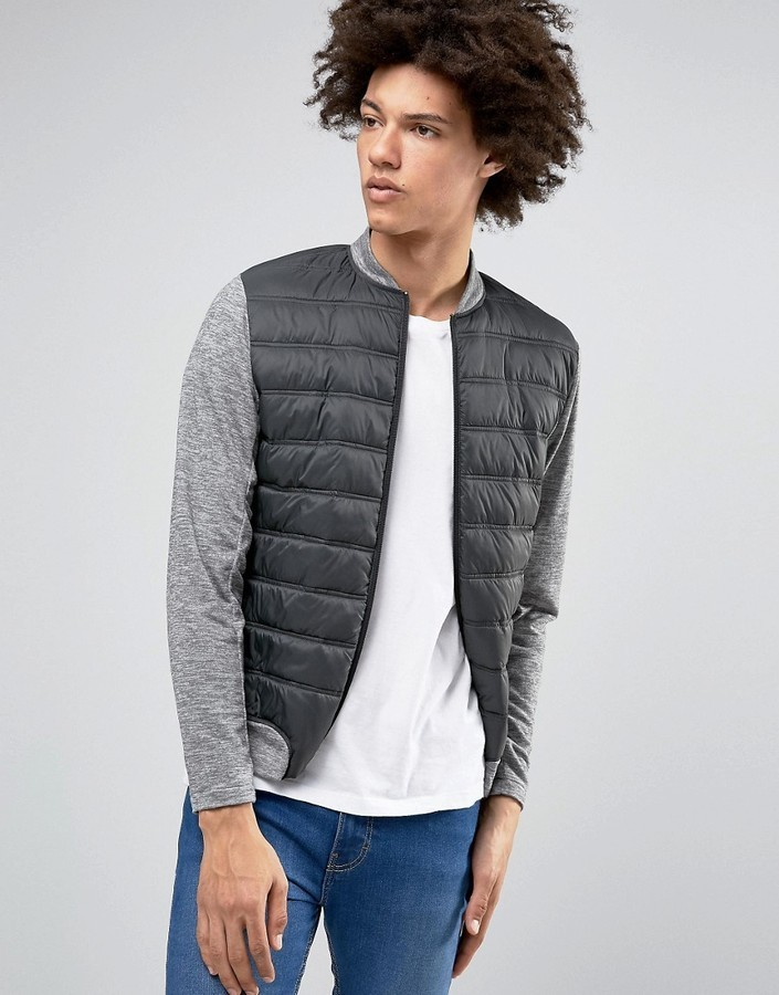 Plus Quilted Bomber Selected Homme Sleeves Jersey With Contrast 5qvW6nWPw