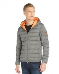 Save The Duck Light Grey Melance Channel Quilted Hooded Puffer Bomber Jacket