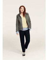 Violeta BY MANGO Detachable Hood Quilted Coat