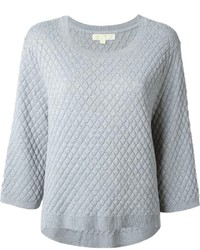 Grey Quilted Crew-neck Sweater