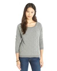 Alternative Apparel Heather Grey Quilted Cotton Blend Fleece Sweatshirt