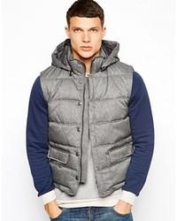 DKNY Outerwear Gillet Herringbone Gray