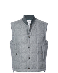 Thom Browne Downd Button Front Vest In Jacket Weight Cashmere