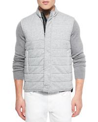 Quilted zip front vest gray medium 279313