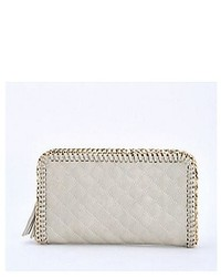 Grey Quilted Leather Clutch