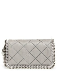 Falabella quilted faux leather crossbody bag grey medium 619173