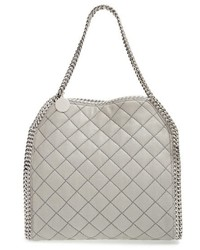 Grey Quilted Leather Tote Bag
