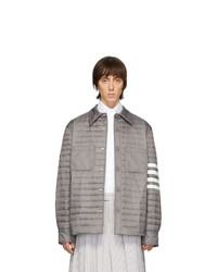 Thom Browne Grey Down 4 Bar Quilted Shirt Jacket