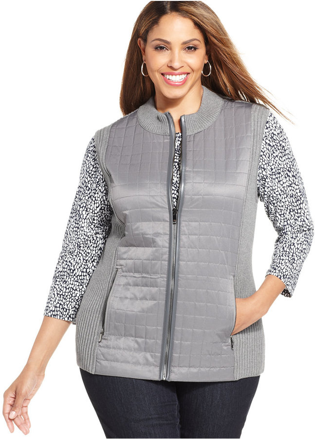 jones new york signature plus size mixed media vest | where to buy