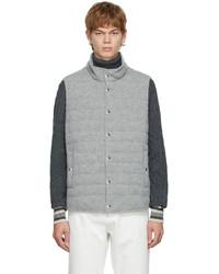 Brunello Cucinelli Grey Down Cashmere Knit Vest