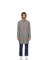A.P.C. Black And Grey Houndstooth New England Raincoat