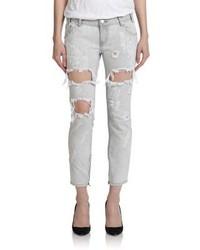 Grey Ripped Boyfriend Jeans