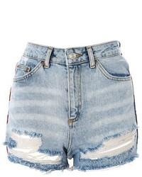 Topshop Moto American Flag Splice Mom Shorts