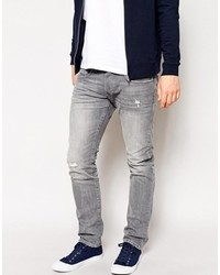 Men's Grey Ripped Jeans from Asos | Men's Fashion